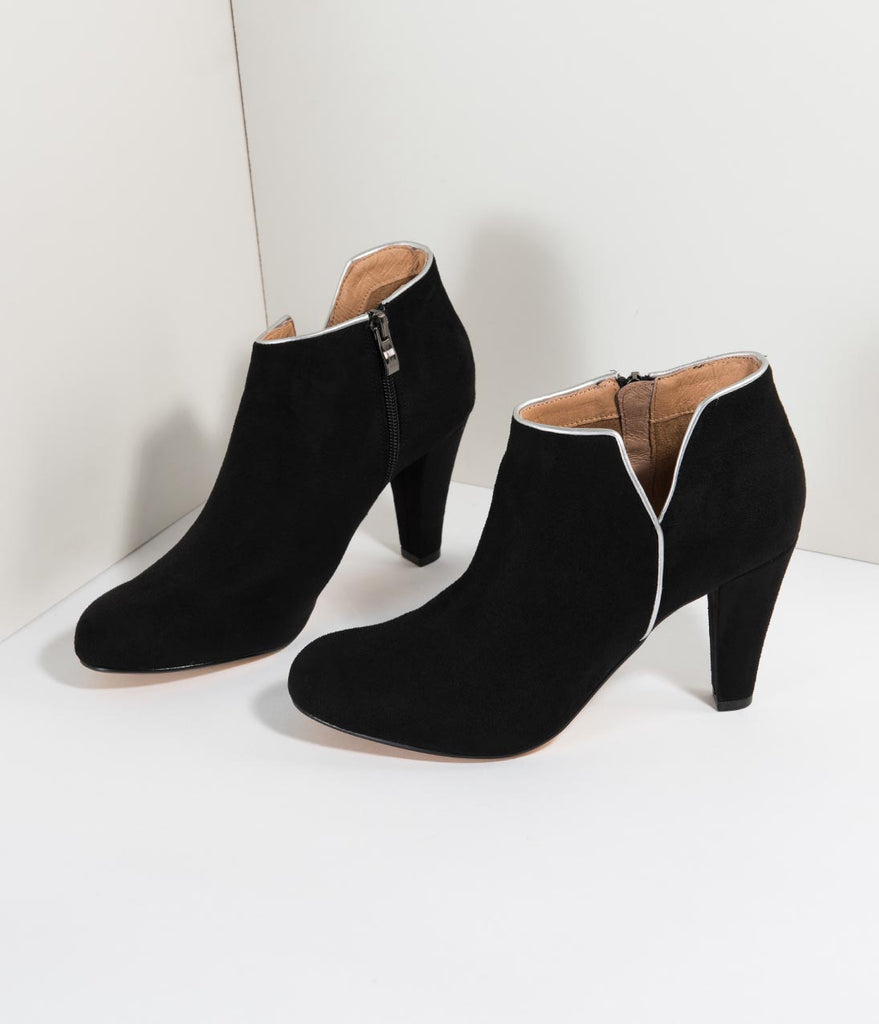 6a8fae06b87 Chelsea Crew Black Suede   Silver Notched Heeled Tiffany Booties – Unique  Vintage