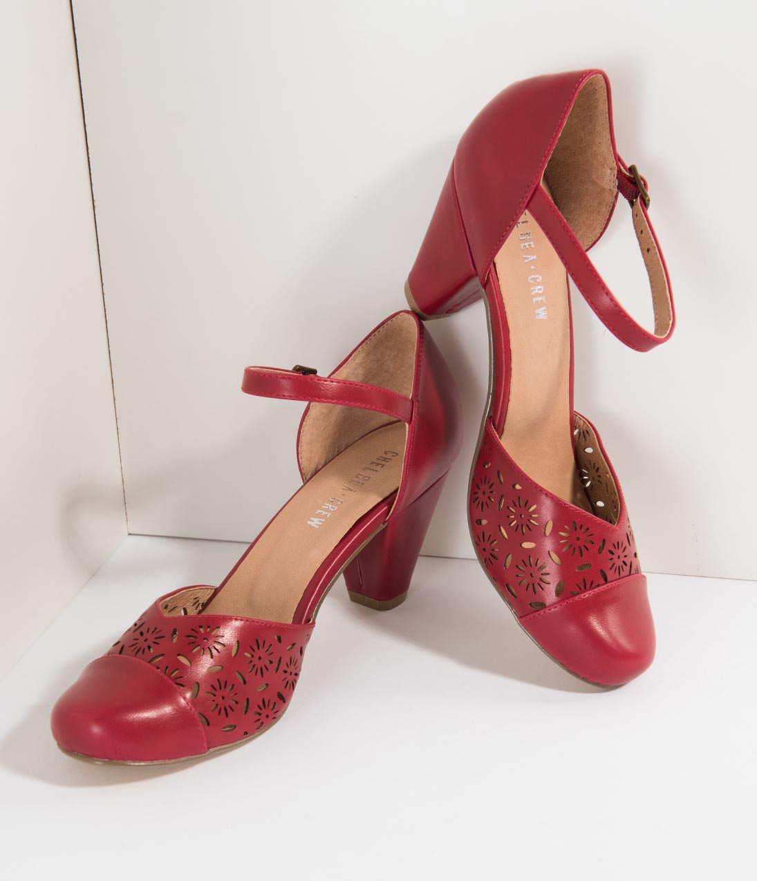 1950s Style Shoes | Heels, Flats, Saddle Shoes Chelsea Crew Red Cutout Leatherette DOrsey Morty Pumps $68.00 AT vintagedancer.com