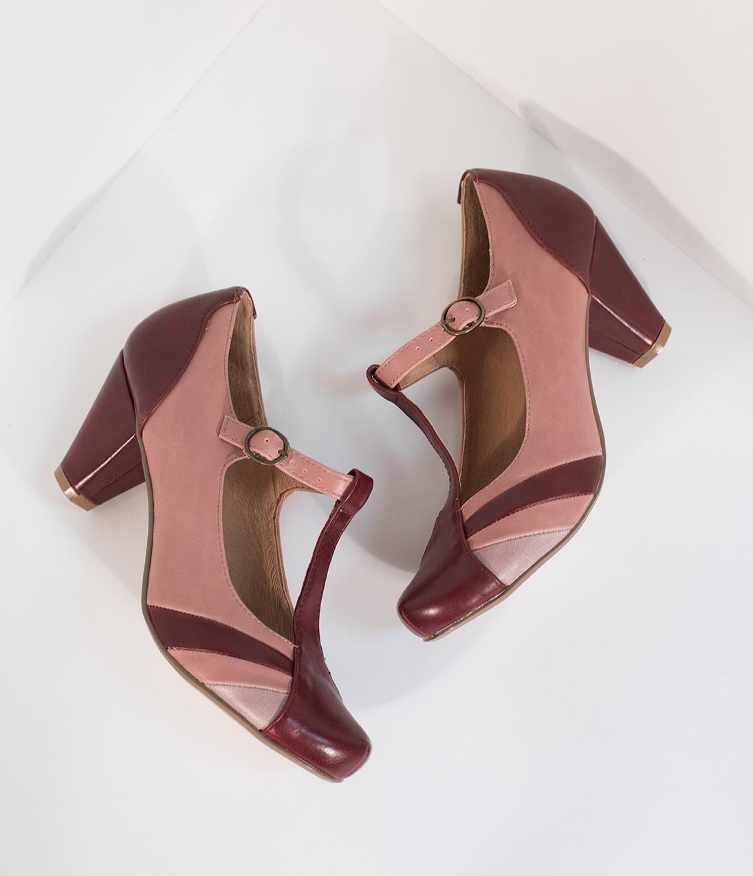 60s Shoes, Boots | 70s Shoes, Platforms, Boots Chelsea Crew Burgundy  Pink Leatherette T-Strap Monet Heels $74.00 AT vintagedancer.com