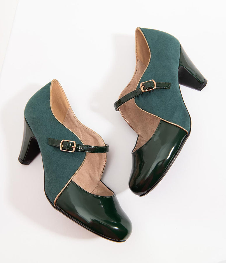 Chelsea Crew Emerald Green Patent Leatherette & Suede Lucille Heels