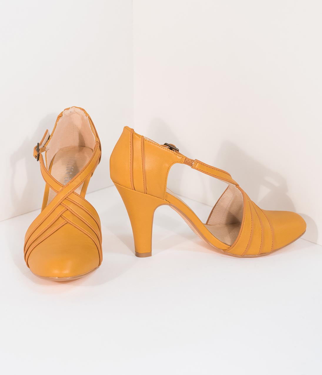 Authentic Natural 1950s Makeup History and Tutorial Chelsea Crew Vintage Style Mustard Yellow Leatherette DOrsay Lana Heels $64.00 AT vintagedancer.com