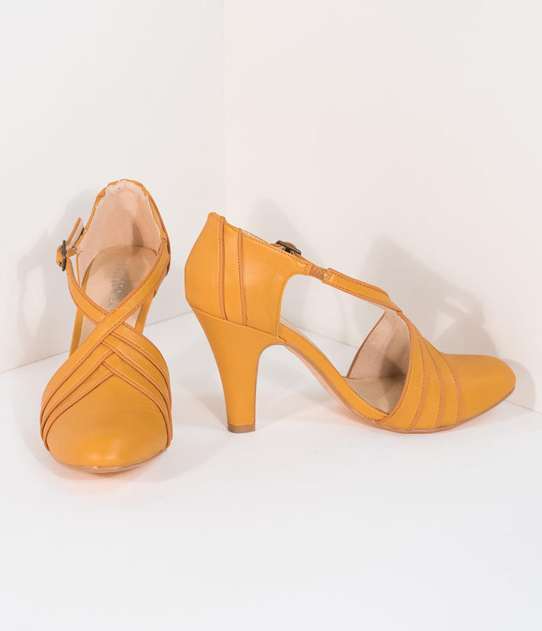 Chelsea Crew Vintage Style Mustard Yellow Leatherette D'Orsay Lana Heels