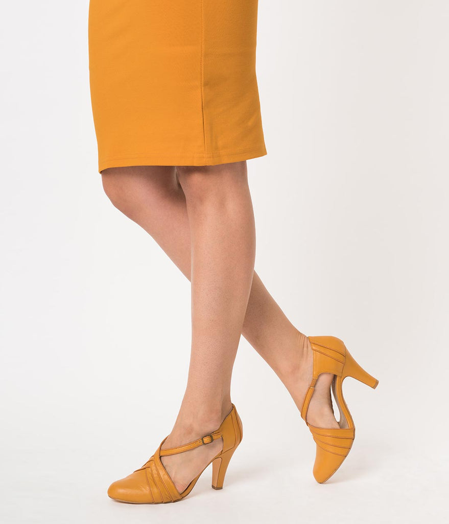 475bd4a8f2f ... Chelsea Crew Vintage Style Mustard Yellow Leatherette D Orsay Lana Heels  ...
