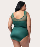 Esther Williams Plus Size Vintage Style Emerald Green Mesh One Piece Swimsuit