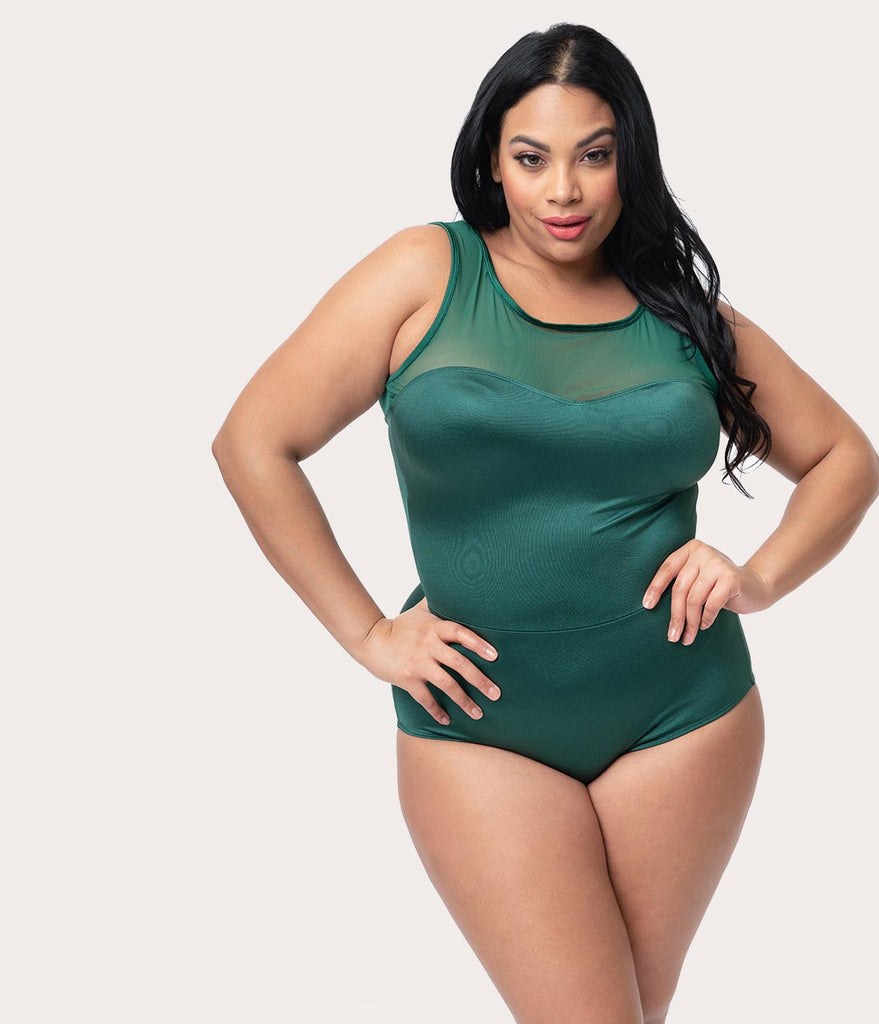 b8920e3261 ... Esther Williams Plus Size Vintage Style Emerald Green Mesh One Piece  Swimsuit ...