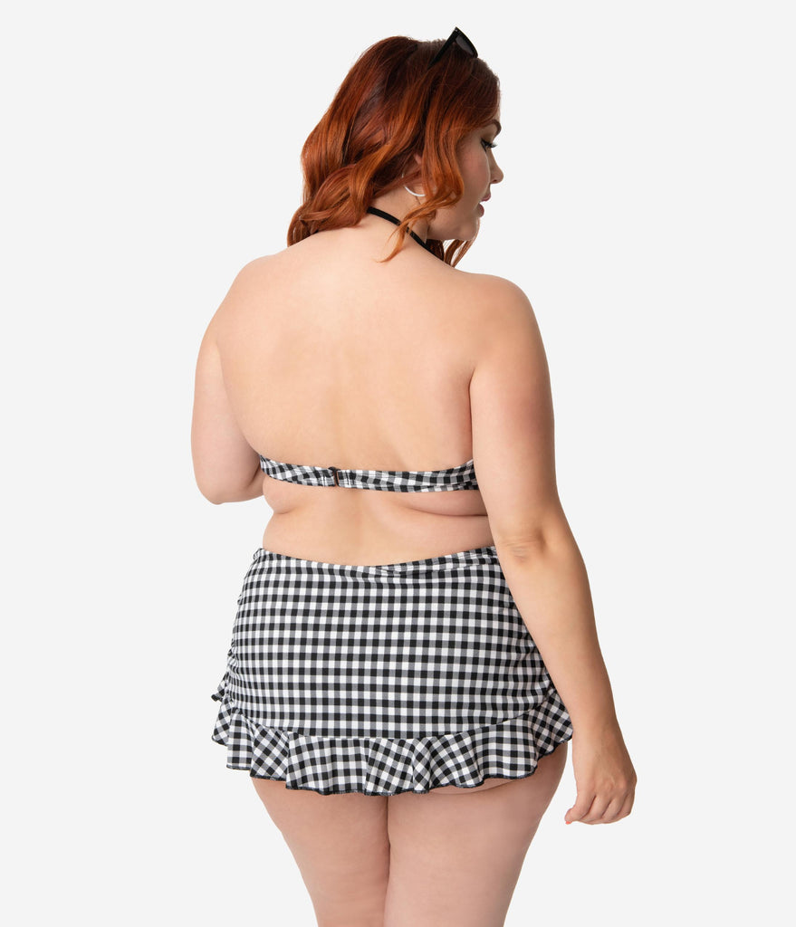 Girl Howdy Plus Size Pin-Up Black & White Gingham Ruffle Skirt Swim Bottom