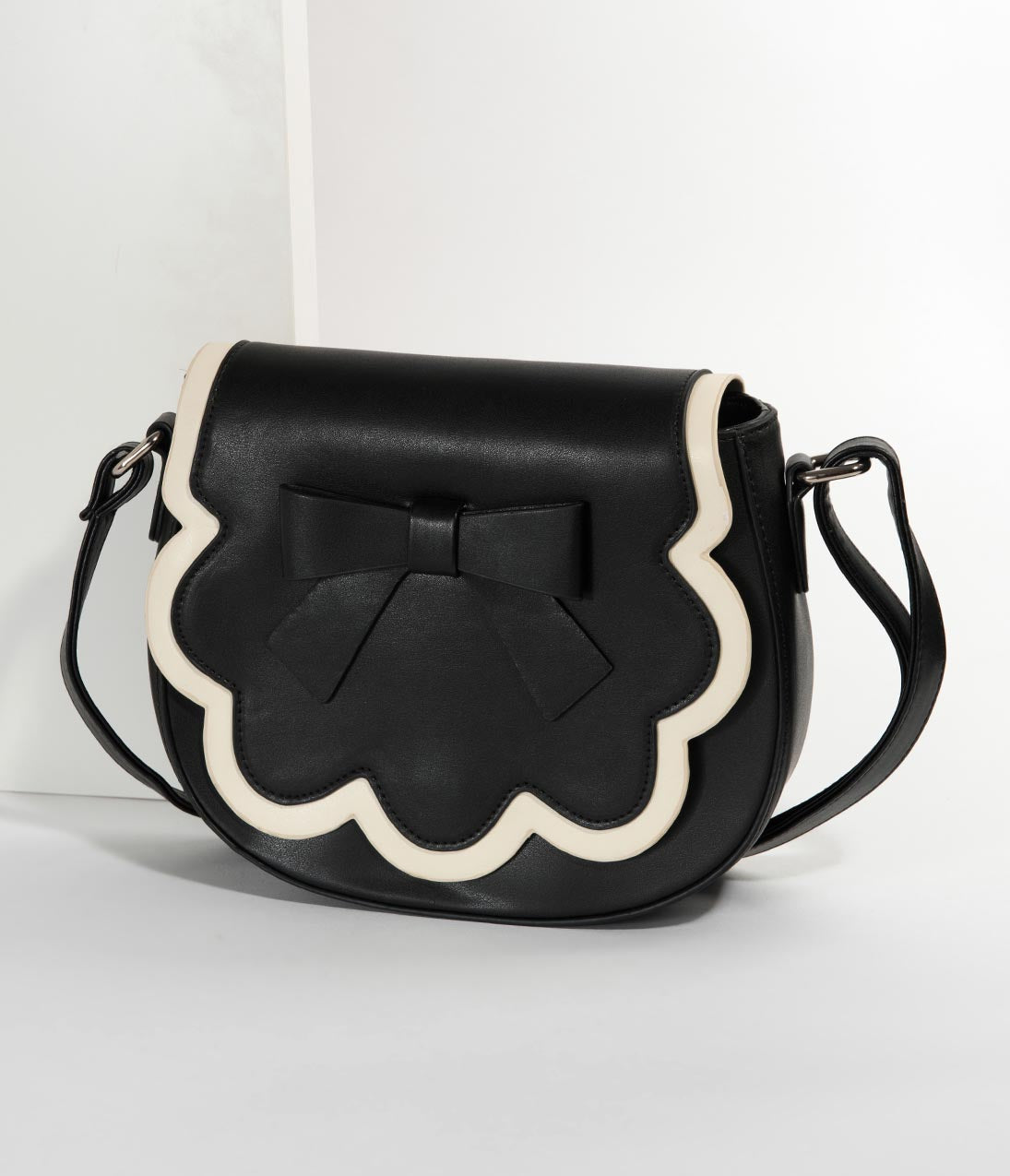 1950s Handbags, Purses, and Evening Bag Styles Banned Black  White Leatherette Rocco Saddle Crossbody Purse $52.00 AT vintagedancer.com