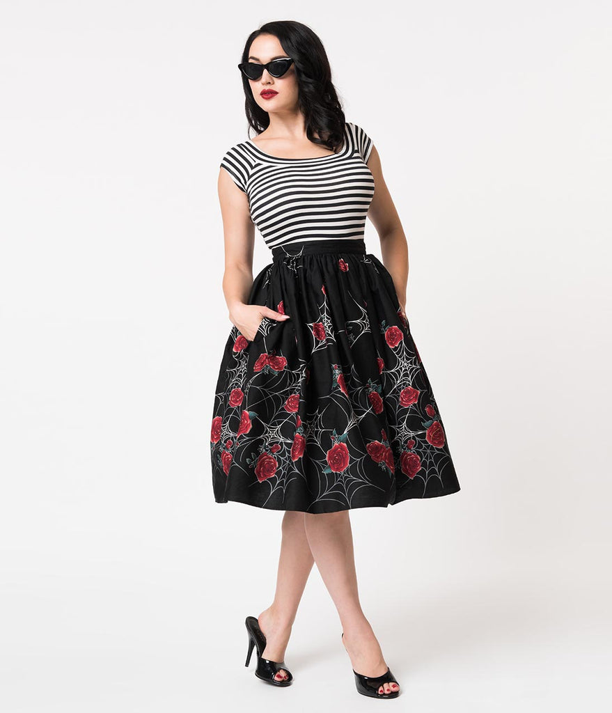 Hell Bunny 1950s Black Spiderweb & Red Rose Print Cotton Sabrina Swing Skirt
