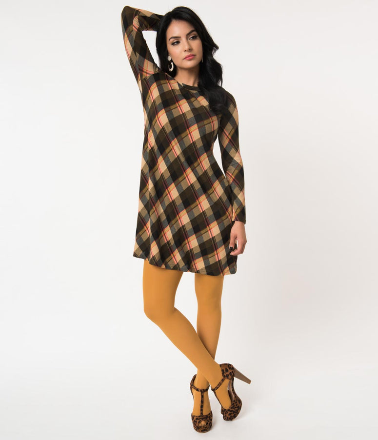 Olive & Cream Plaid Long Sleeve Sweater Knit Flare Dress