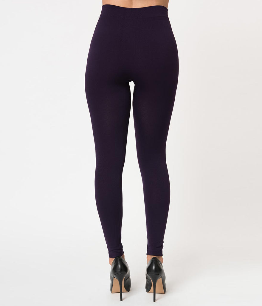 1950s Pin Up Style Purple High Waist Cigarette Stretch Leggings
