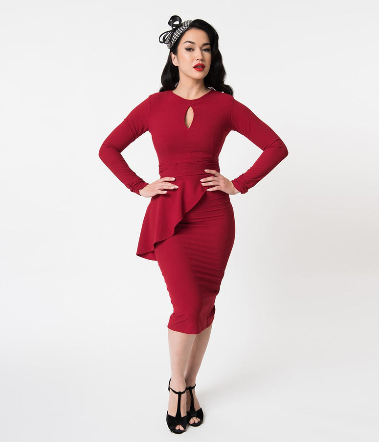 Bettie Page Vintage Style Red Wiggle Holiday Dress