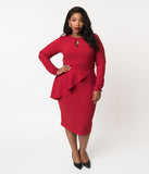 Bettie Page Plus Size Vintage Style Ruby Red Crepe Long Sleeve Christina Wiggle Dress