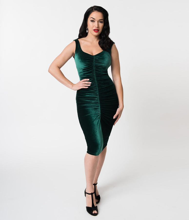 Bettie Page Green Velvet Ruched Wiggle Holiday Dress