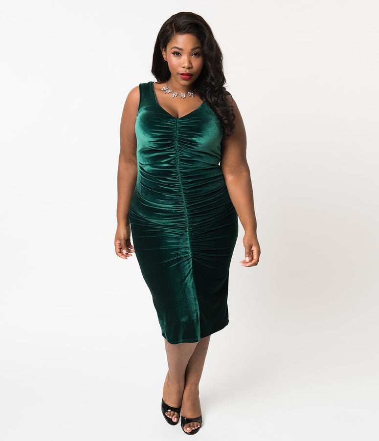 Bettie Page Plus Size Green Velvet Ruched Wiggle Holiday Dress