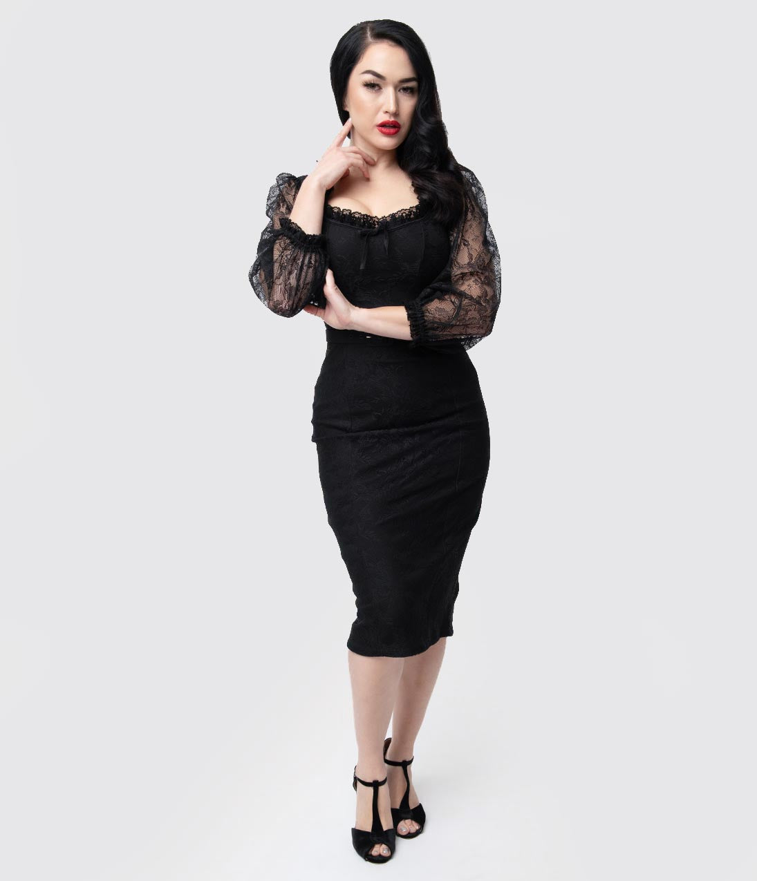 1930s Dresses | 30s Art Deco Dress Vixen By Micheline Pitt Black Lace Decadence Wiggle Dress $166.00 AT vintagedancer.com
