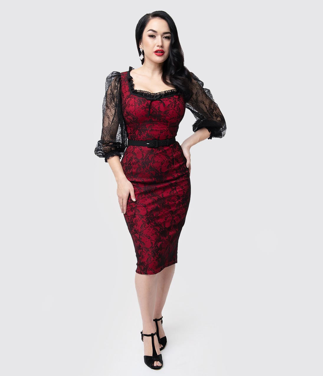 1930s Dresses | 30s Art Deco Dress Vixen By Micheline Pitt Red  Black Lace Decadence Wiggle Dress $166.00 AT vintagedancer.com