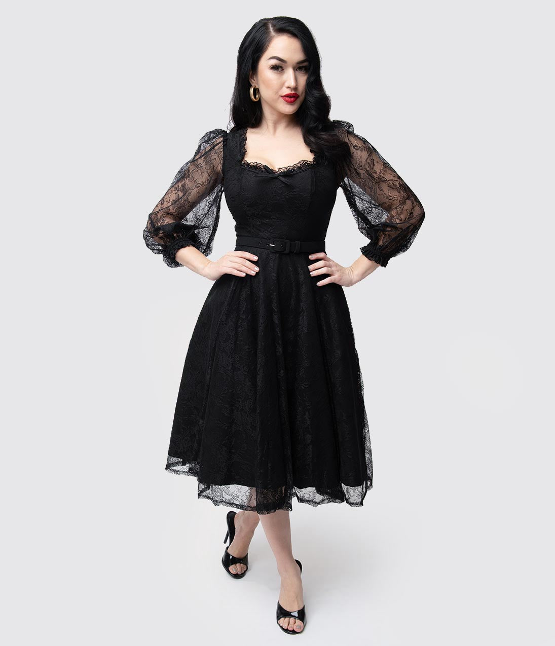 1940s Dresses | 40s Dress, Swing Dress Vixen By Micheline Pitt Black Lace Decadence Swing Dress $186.00 AT vintagedancer.com