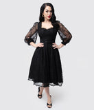 Vixen by Micheline Pitt Black Lace Decadence Swing Dress