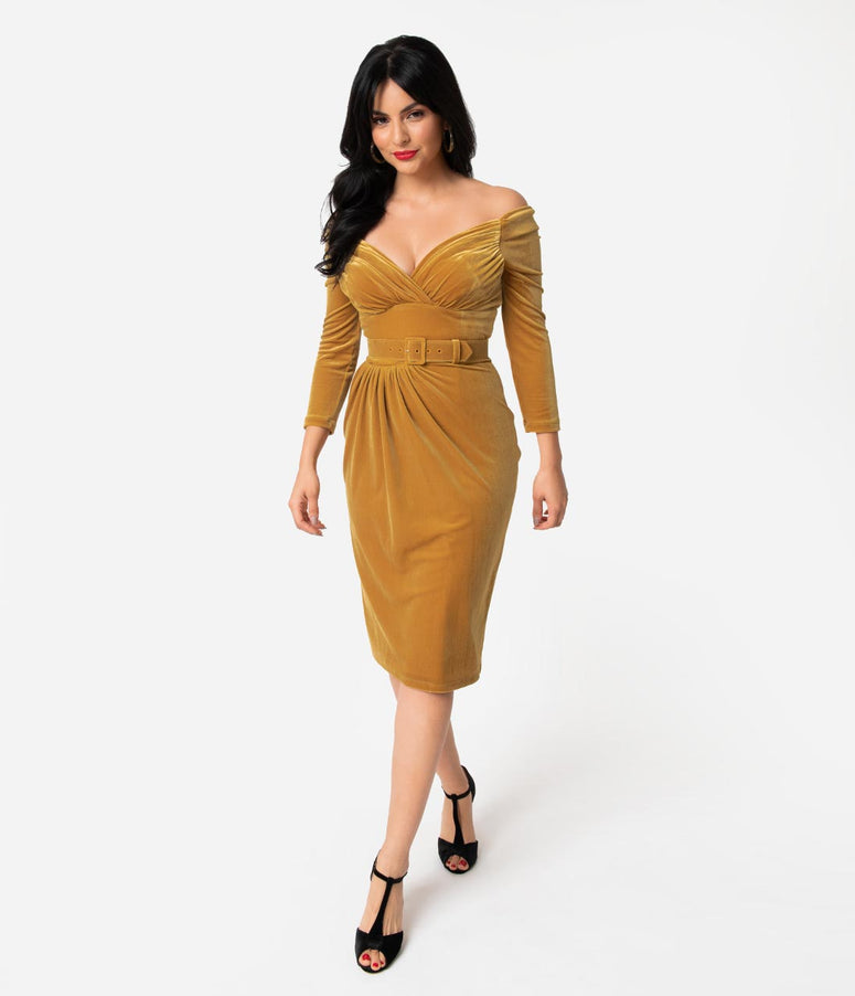Vixen By Micheline Pitt Gold Velvet Starlet Wiggle Dress