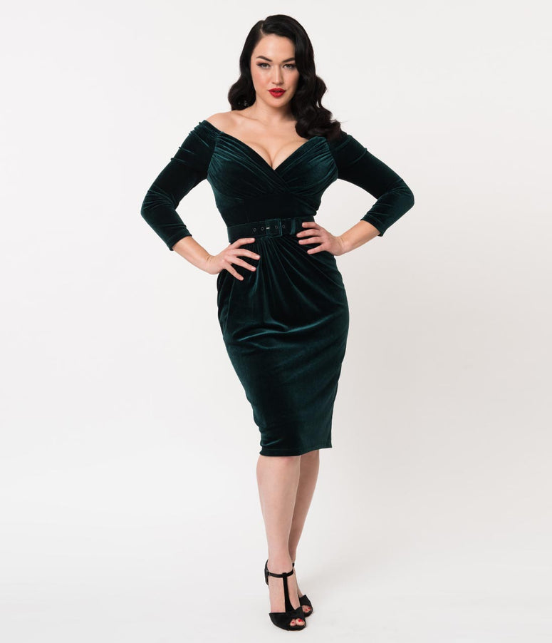 Vixen By Micheline Pitt Hunter Green Velvet Starlet Wiggle Dress