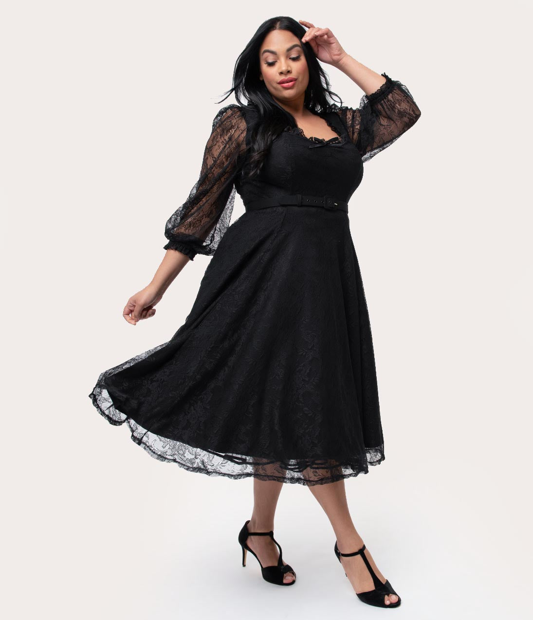 1940s Dresses | 40s Dress, Swing Dress Vixen By Micheline Pitt Plus Size Black Lace Decadence Swing Dress $140.00 AT vintagedancer.com