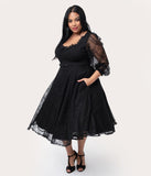 Vixen by Micheline Pitt Plus Size Black Lace Decadence Swing Dress