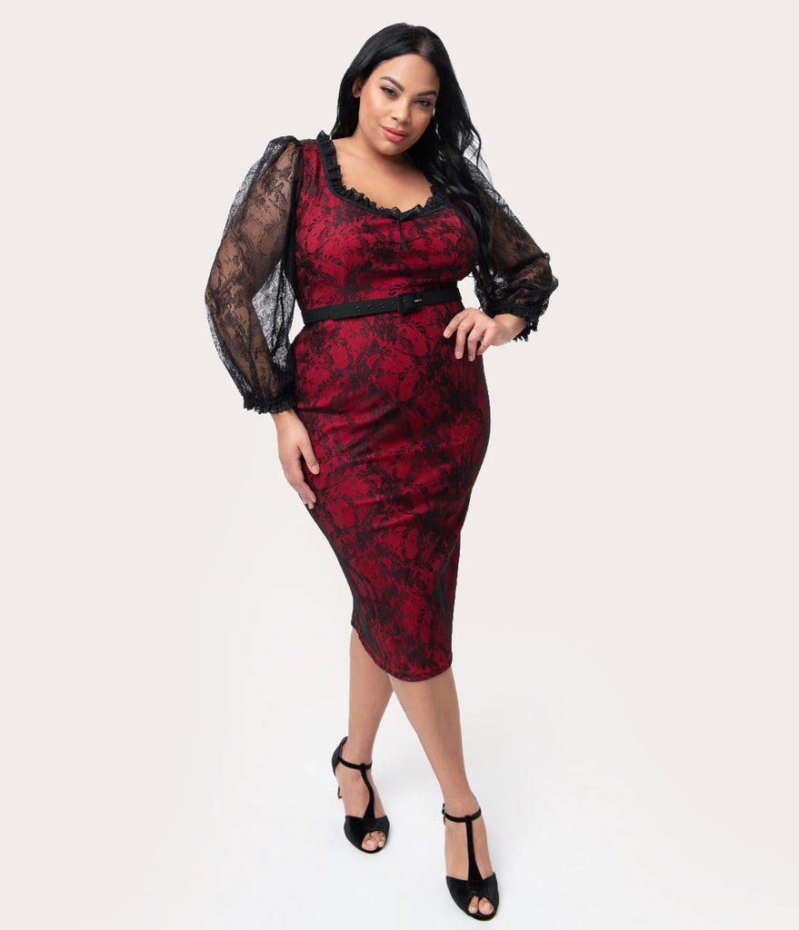 cf974c9f17a Vixen by Micheline Pitt Plus Size Red   Black Lace Decadence Wiggle Dr –  Unique Vintage