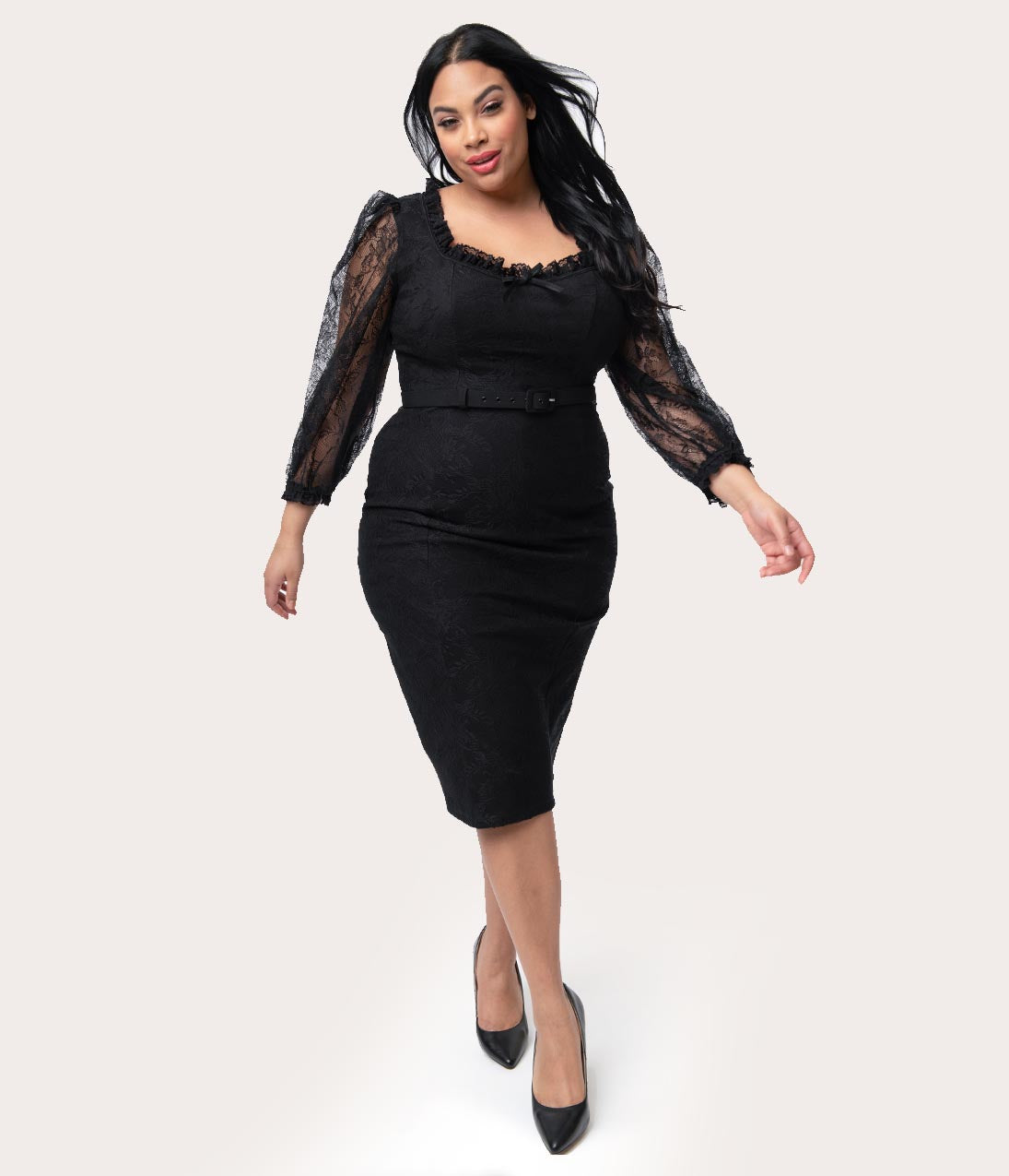 1950s Plus Size Dresses, Clothing and Costumes Vixen By Micheline Pitt Plus Size Black Lace Decadence Wiggle Dress $166.00 AT vintagedancer.com