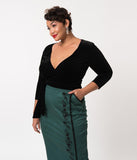 Vixen By Micheline Pitt Plus Size Black Velvet Sleeved Crop Wrap Top