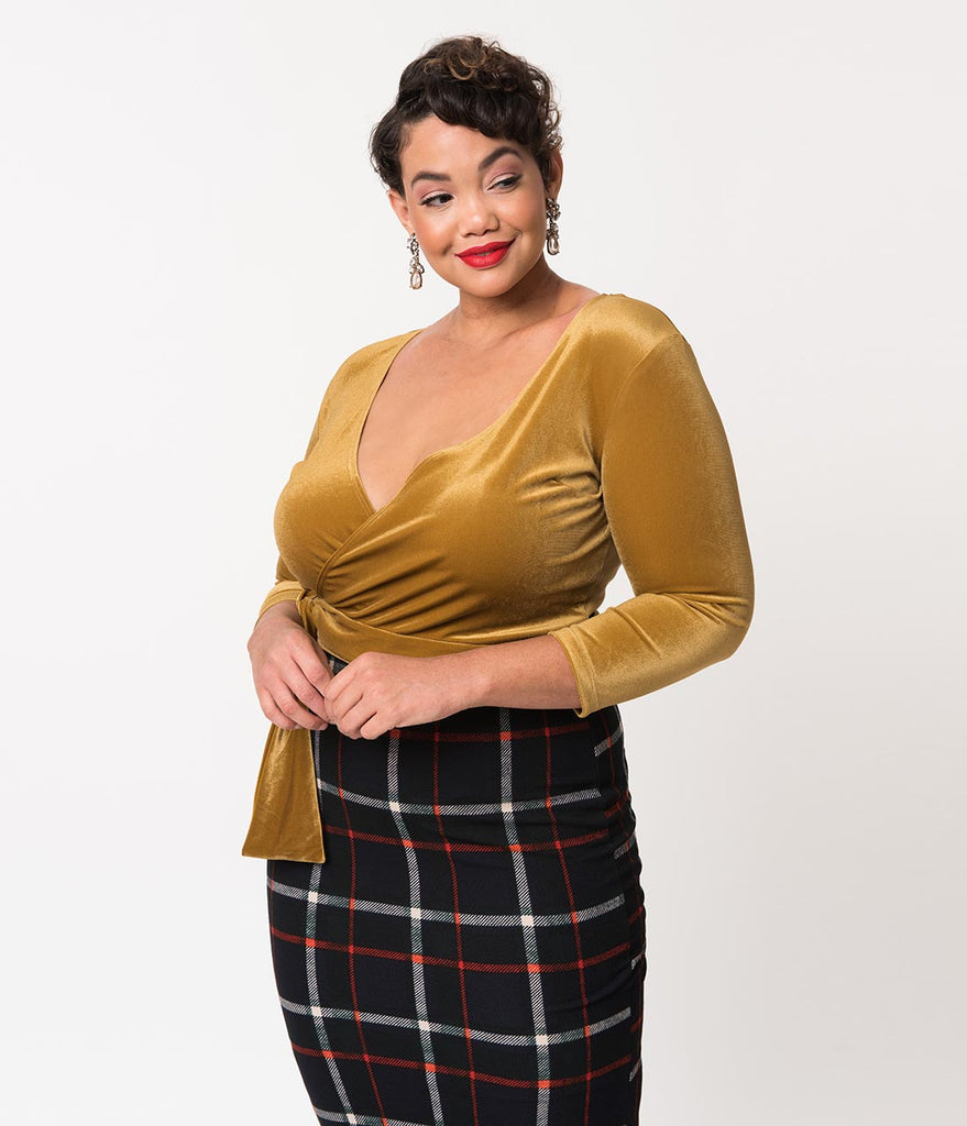 Vixen By Micheline Pitt Plus Size Gold Velvet Sleeved Crop Wrap Top