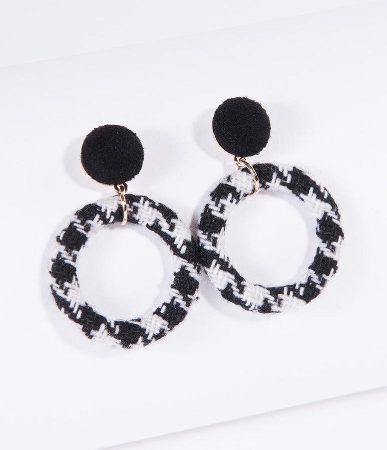 Black & White Houndstooth Hoop Drop Earrings