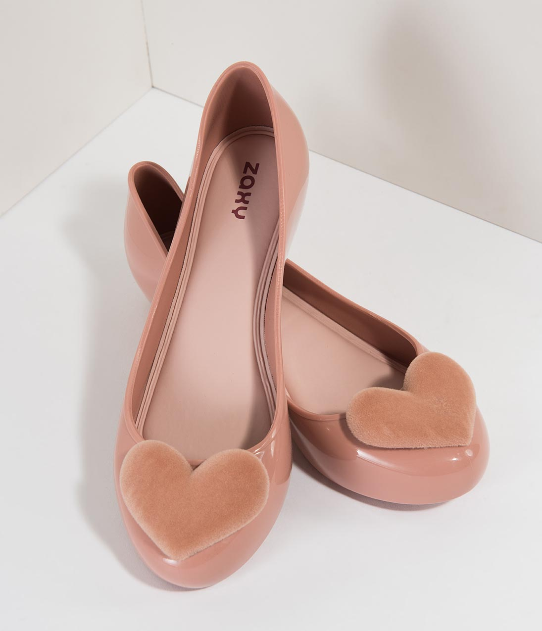 Retro Vintage Flats and Low Heel Shoes Dusty Pink Molded  Velvet Pop Heart Flats $38.00 AT vintagedancer.com