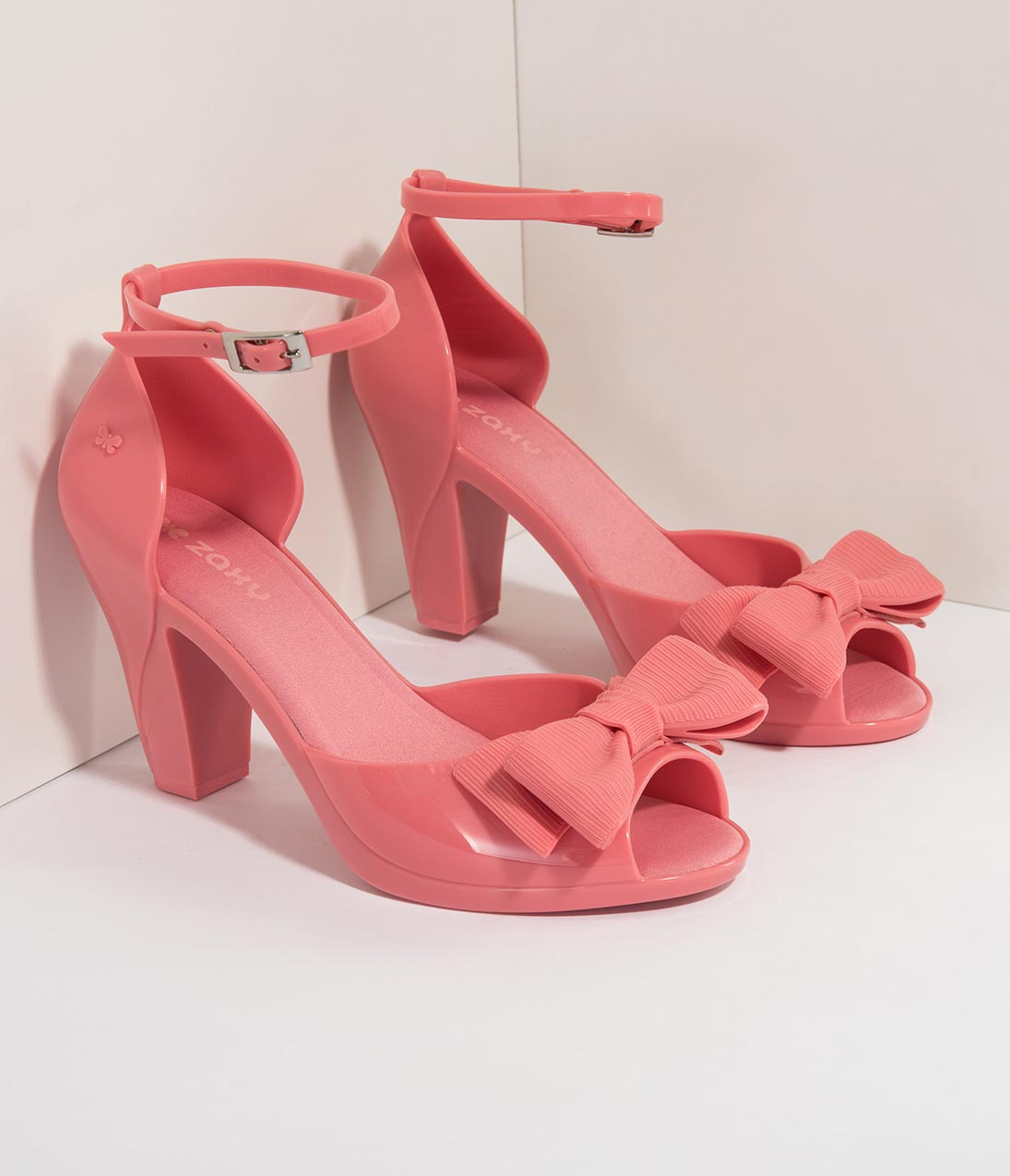 1950s Style Shoes | Heels, Flats, Saddle Shoes Pink Molded Bow Peep Toe DOrsay Diva Heels $48.00 AT vintagedancer.com