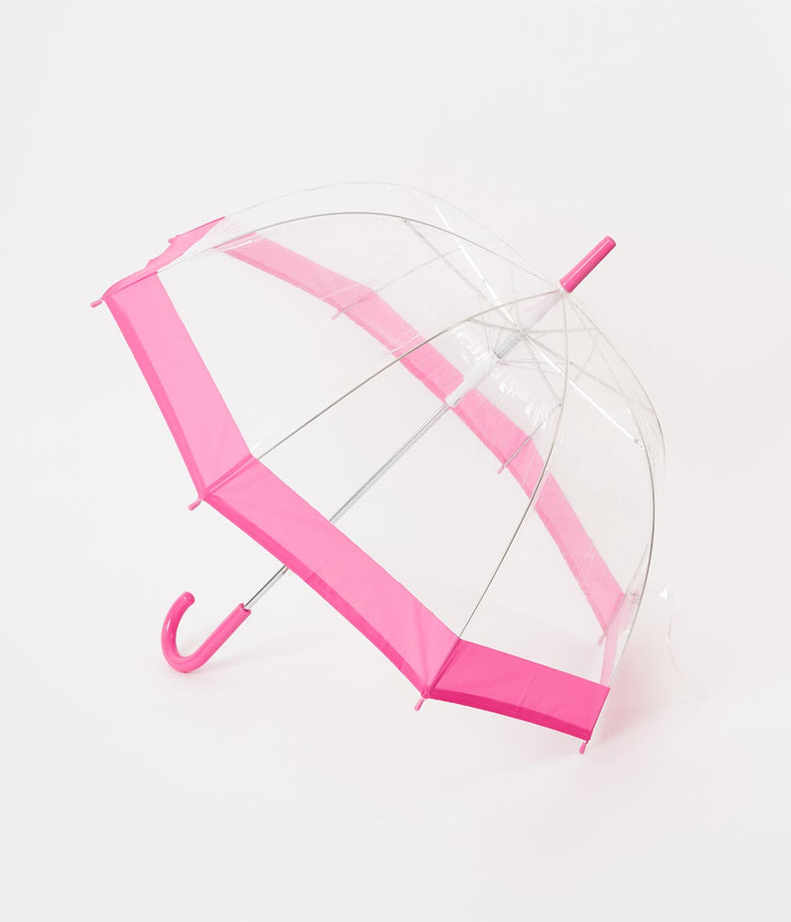 Pink & Clear Dome Umbrella