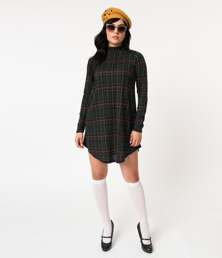 Emerald Green Plaid High Neck Long Sleeve Sweater Knit Shift Dress