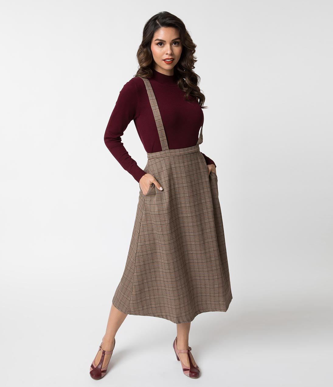 1950s Swing Skirt, Poodle Skirt, Pencil Skirts Vintage Style Brown Plaid Woven Suspender Midi Skirt $58.00 AT vintagedancer.com