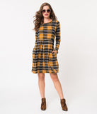 Mustard & Navy Plaid Sweater Knit Long Sleeve Flare Dress