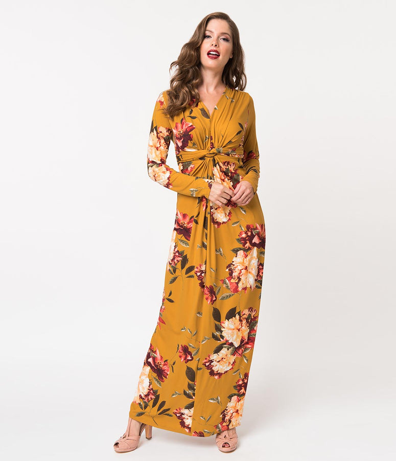 Retro Style Mustard Yellow Floral Print Long Sleeve Maxi Dress