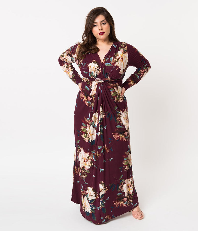 Plus Size Retro Style Burgundy Red Floral Print Long Sleeve Maxi Dress