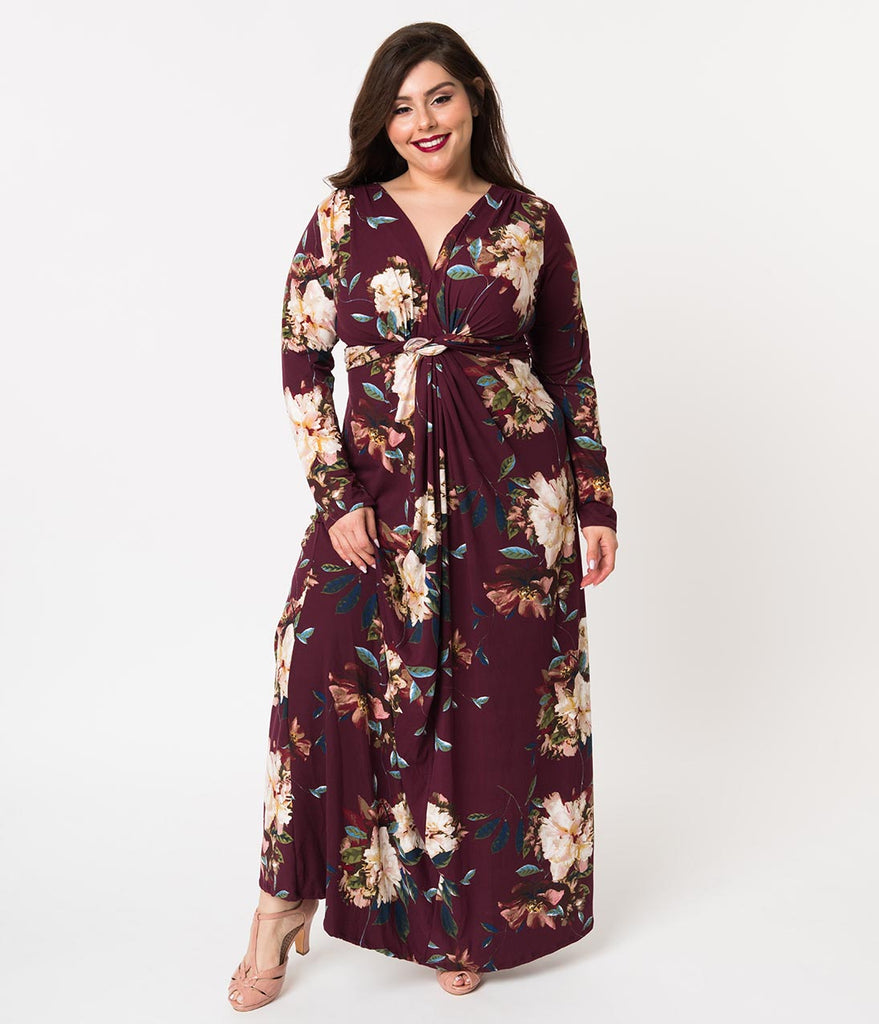 Plus Size Maxi Dresses with Long Sleeves