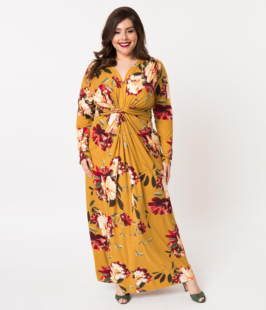 Plus Size Retro Style Mustard Yellow Floral Print Long Sleeve Maxi