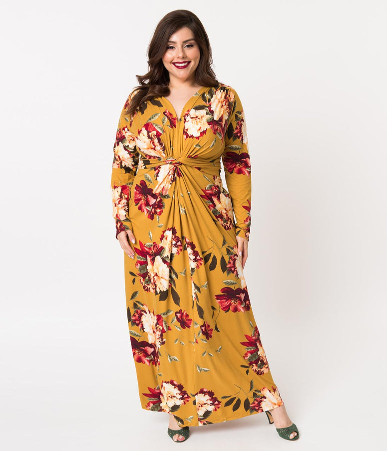Plus Size Retro Style Mustard Yellow Floral Print Long Sleeve Maxi Dress