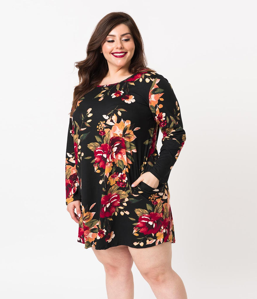 Plus Size Black Floral Knit Long Sleeve Casual Shift Dress