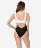 Black & White Color Block Cutout One Piece Swimsuit
