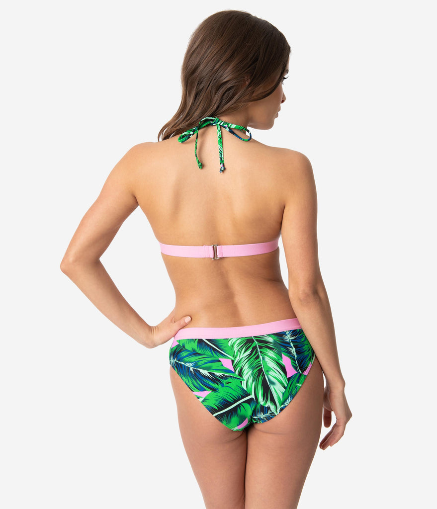 Retro Style Pin Up Green & Pink Tropical Palm Print Two Piece Swim Set