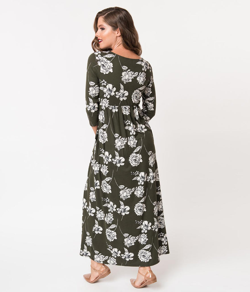 519efa58b50 Olive Green   White Floral Long Sleeve Maxi Dress – Unique Vintage