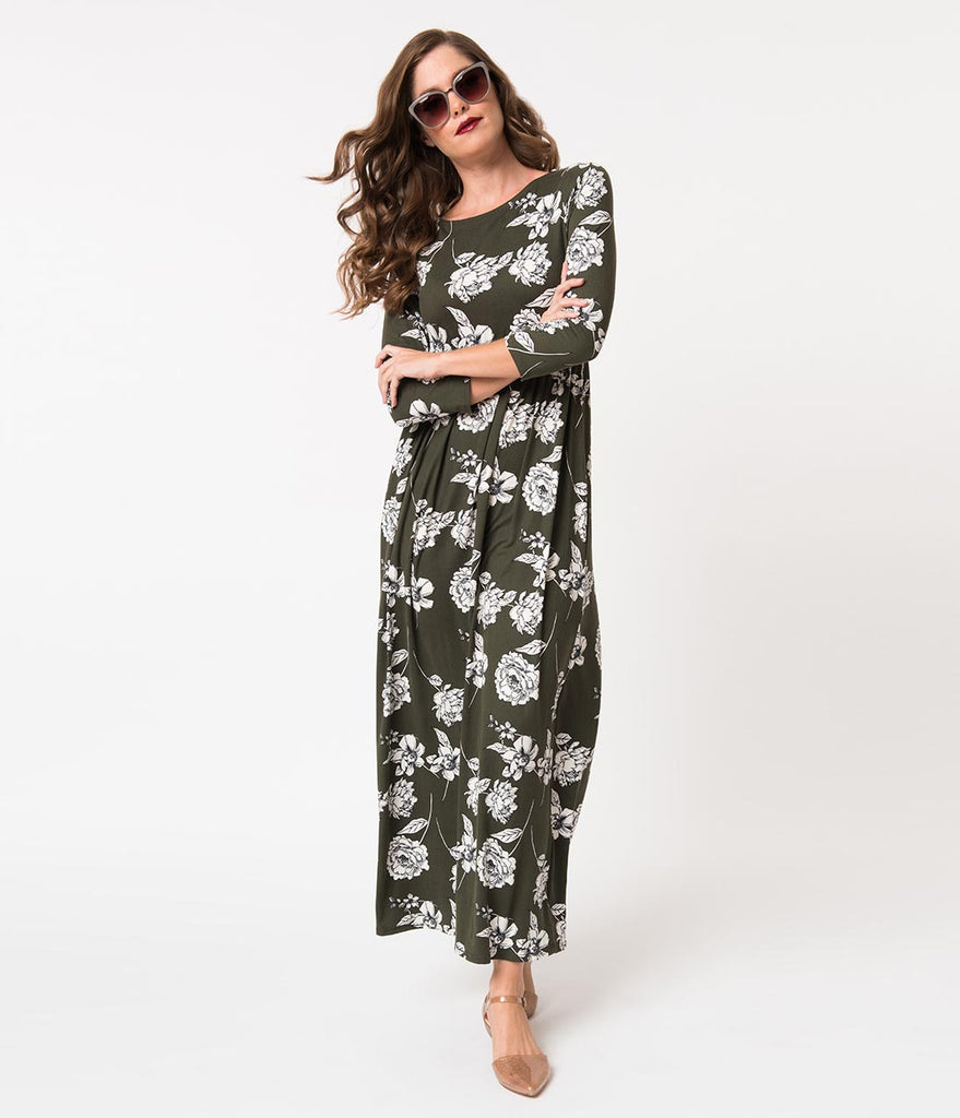 Olive Green & White Floral Long Sleeve Maxi Dress
