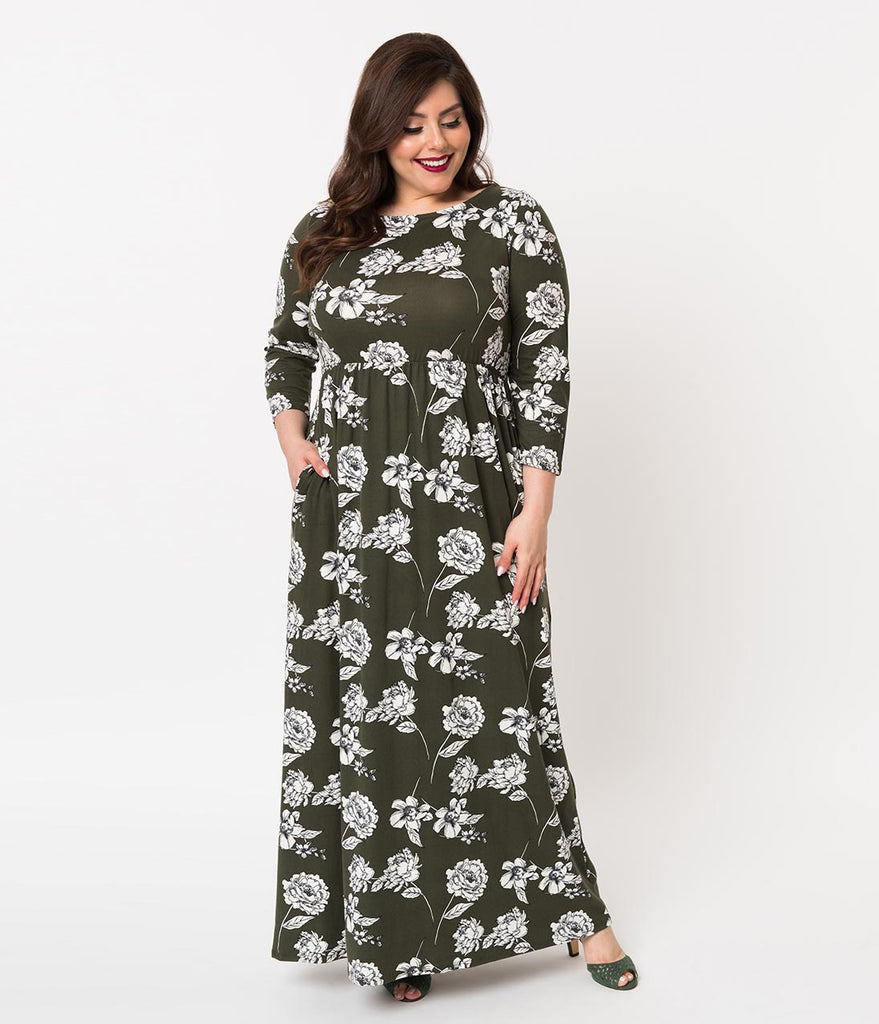 Long Sleeve with Belt Plus Size Maxi Dresses