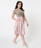 Light Pink, White, & Grey Striped Gathered Cotton Swing Skirt