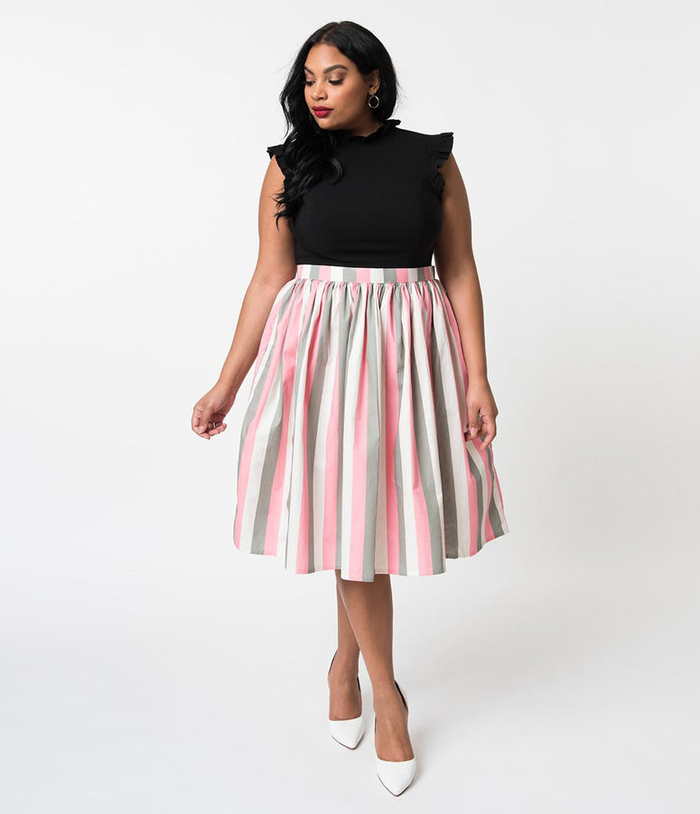 Plus Size Light Pink, White, & Grey Striped Gathered Cotton Swing Skirt